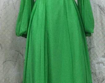 Vintage 1970s Green Emma Domb Maxi Dress