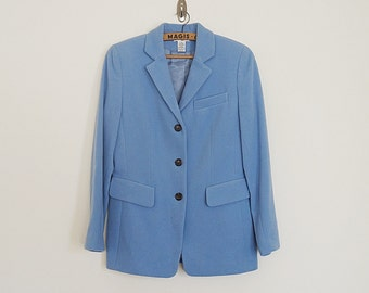 Vintage 80s baby blue wool and cashmere blend blazer // Size S / M