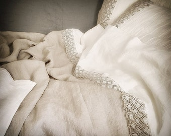 Linen duvet cover with lace from medium heavy natural flax grey and white linen, stonewashed linen doona cover, Queen, King, custom bedding