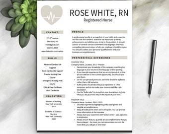 Nurse Resume Template + Free Cover Letter | Nurse Resume | Nurse CV | One U0026  Registered Nurse Resume