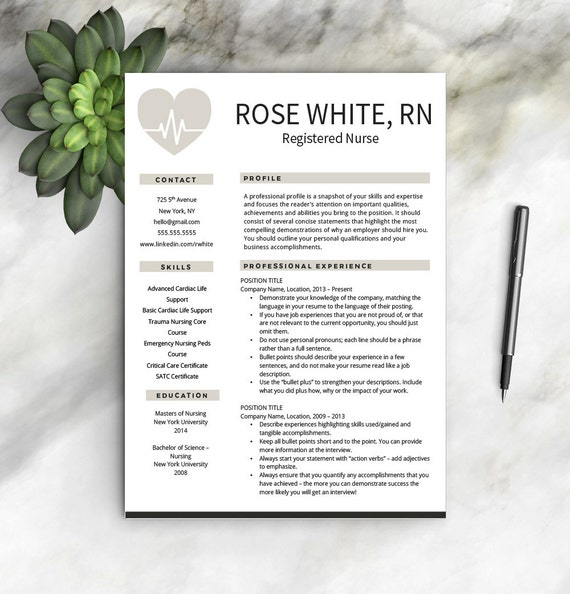 Nurse Resume Template + Free Cover Letter | Nurse Resume | Nurse CV | One U0026  Two Page Resume Templates | Nursing Resume | INSTANT DOWNLOAD  Nurse Resume Template Free