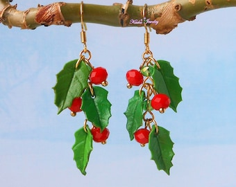 Cluster Earrings Holly Berry Christmas Jewelry handmade polymer clay Holiday earrings Red berry Holly jewelry Winter earrings Christmas gift