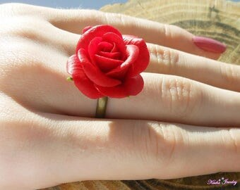 Ring Red Rose Flower ring Jewelry polymer clay flowers Rose Ring Romantic gift for her Floral ring Gift for girlfriend Gift for sister