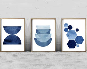 Blue Abstract Watercolor Prints Set Triptych Geometric Wall art Large Abstract Art Boho Home Decor Minimalist art Indigo Blue Navy Modern
