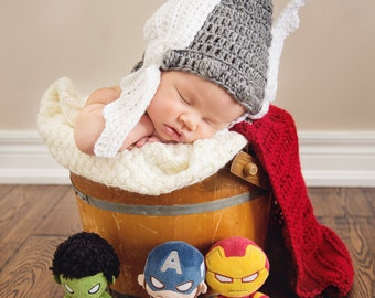 Crochet Baby Thor Photo Prop, Norse God of Thunder, Newborn, Marvel, Photography, Baby Outfit, Handmade, Baby Shower Gift, Pictures, Costume
