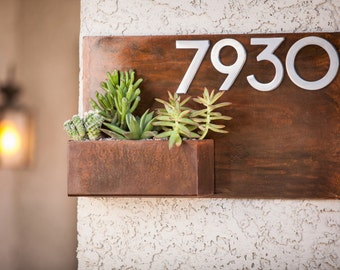 Modern Metal Address Planter Gives Curb Appeal / Metal Address Sign & Vertical Garden / Rustic Metal Address Plaque Metal Address Numbers