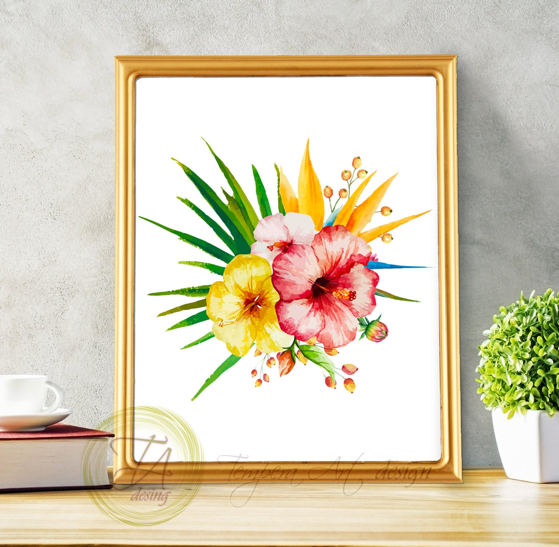 Tropical botanical wall art modern home decor tropical for Wall art and decor