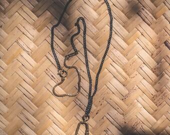 Viaje Necklace, Men's Carabiner Necklace, Black Chain Necklace, Men's Brass Necklace, Brass Necklace, Men's Jewelry, Men's Accessories