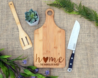 Home Custom Paddle Board, Custom Cutting Board, Laser Engraved, Personalized, Last Name, Closing gift, real estate, realtor, Housewarming
