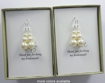 Swarovski Ivory Pearl Earrings, Bridesmaid Gift, Wedding Earrings, Bridesmaid Earrings, Bridal Party Gift, Bridal Party Jewelry