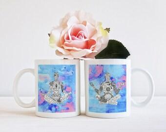 yoga coffee mugs,  his and hers mugs, set of 2 mugs, mr & mrs mugs, valentines mug girlfriend, couple mugs, mug friend yoga, boyfriend mug