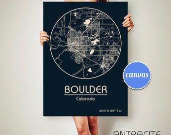 BOULDER Colorado CANVAS Map Boulder Colorado Poster City Map Boulder Colorado Art