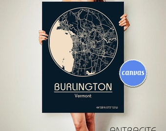 BURLINGTON Vermont CANVAS Map Burlington Vermont Poster City Map Burlington Vermont Art Print Burlington Vermont Burlington ArchTravel