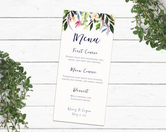 Floral Menu - Custom Floral Wedding Menu -Painted Flowers - Flower Drop-Rustic Boho Chic Menu - Flowers Nature Menu- Watercolor Flowers Menu
