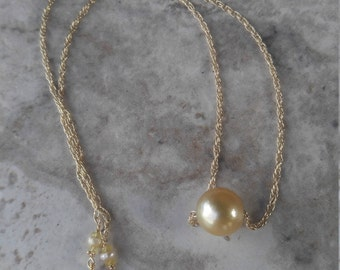 Gold South Sea Pearl Gold Chain Necklace