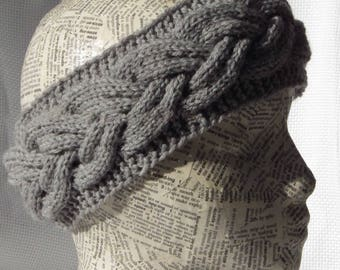 Hand knitted Headband, Merino Yarn, Plait Earwarmer,  Headwrap, Women Headband, Cool Weather, Grey Earwarmer, Gift for her