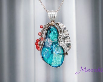 Ready to Ship - Dichroic Glass and Coral Pendant in Sterling - Silver Fold Form Colorful Necklace - Large Silver Statement Necklace