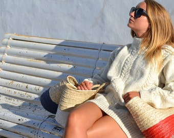 Portuguese fisherman wool cable sweater