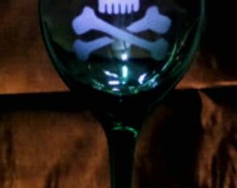 Irish Skull Wine glass. St Patrick's Day