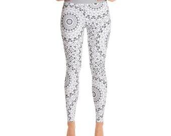 Gray and White Yoga Pants - Monochrome Leggings, High Waist Workout Leggings, Mandala Pattern Exercise Pants