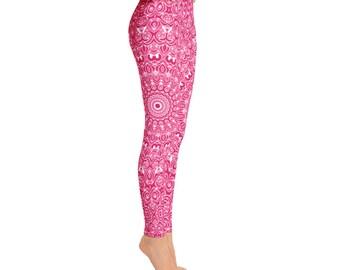 Mid Rise Pink Yoga Leggings - Pink Leggings, Ruby Red Printed Leggings, Mandala Art Tights, Stretch Yoga Pants