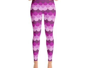 Leggings Mermaid Pink - Mermaid Scale Tights, Fish Scale Tights, Mermaid Tights Women, Scale Leggings, Dragon Scale Pants