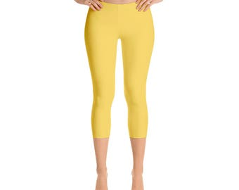 Capris - Mustard Yellow Leggings, Mid Rise Waist Leggings for Women, Stretchy Yoga Pants