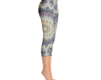Mid Rise Printed Yoga Leggings, Womens Leggings, Boho Mandala Leggings Tights, Yoga Tights, Stretch Pants, Yoga Pants