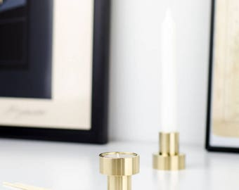 Candle holder made of solid brass - 180 degrees