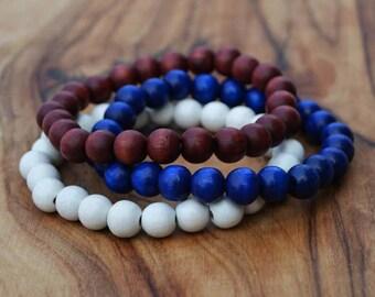 Set of 3 Wooden Bead Bracelets - 8mm