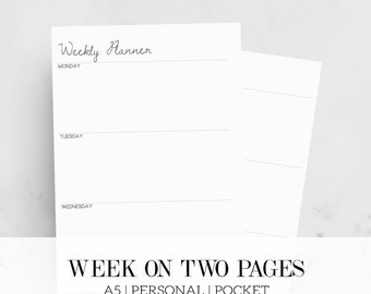 Horizontal weekly planner inserts, Printable planner inserts, Week on two pages,  A5, Personal, Pocket, Planner Pages, Filofax Inserts