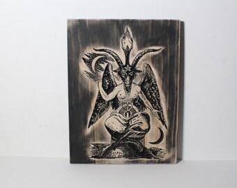 Baphomet Carving - Eliphas Levi Satanism Satanic Occult Mystical Sabbatic Goat | Wood Carved Baphomet