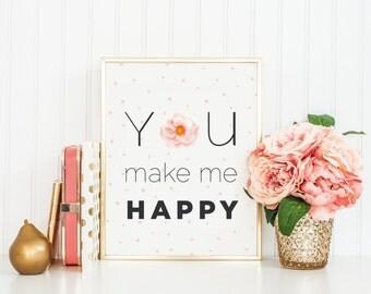 Blush Flower Art, Floral Boho Art, Pink Nursery Printables, Nursery Wall Art, Blush Flowers, Happy, Nursery Decor, Gift for Girlfriend