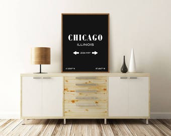 CHICAGO PRINT, Chicago Illinois, Chicago Map, Chicago Poster, Chicago Coordinates, Typography Print, Printable Wall Art, Minimalist Poster