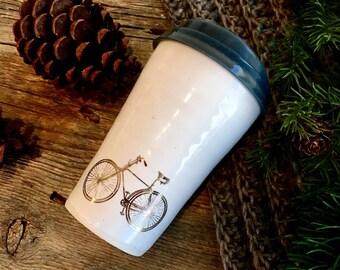 Bicycle travel mug with silicon lid BPA free