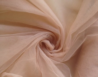 Antique dusty coral color/ dusty coral shade Soft silk tulle fabric  - 2.85 METERS WIDTH