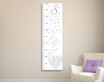 Girl's Butterfly Heart Growth Chart, Growth Chart Ruler, Canvas Growth Chart, Girl's Nursery Wall Art, Butterfly Decor, Butterfly Nursery