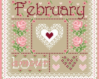 February Monthly Sampler Cross Stich Chart PDF
