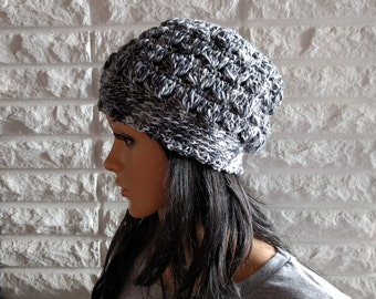 Women's beanie, flapper style cloche, black cloche beanie, grey flapper hat, gifts for her, accessories, fall, winter, spring fashion