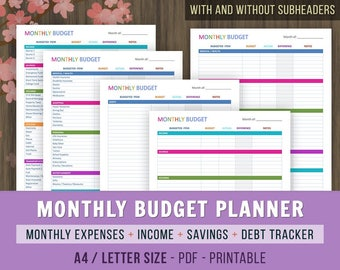 Monthly Budget Planner, Monthly Budget Printables, Family Budget Planner, Finance Printable,Monthly Finances Tracker, A4, Letter Size