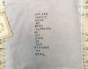 Vintage wedding handkerchief, tears of joy, love hand made in the typewriter look, wedding bride, groom