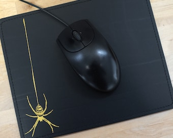 """Mousepad, recycled leather """"Spider"""""""