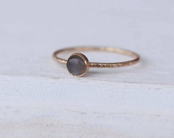 14 K Gold stackable Ring with Moonstone