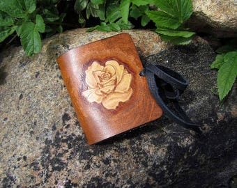 Rose Leather Traveler's Notebook Journal {Mini for 4} Pocket size, Midori Style - Pyrography