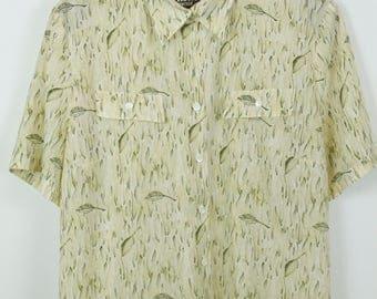 Vintage shirt, 80s clothing, shirt 80s, leaves print, oversized