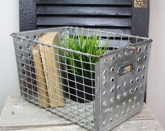 Vintage Wire Gym Basket/Metal Locker Basket