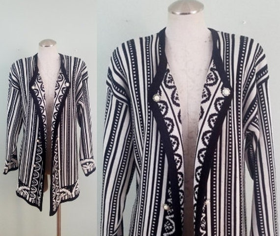 1970s-1980s Black and White Oversized Cardigan / Vintage Open Front, Draped Cardi / Striped Sweater /