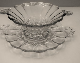 New Martinsville Janice Pattern Clear Mayonaise Bowl and Underplate