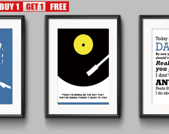Oasis, Liam Gallagher, Noel Gallagher, Wonderwall, Morning Glory, Definitely Maybe, Be here now, Three prints for the price of one