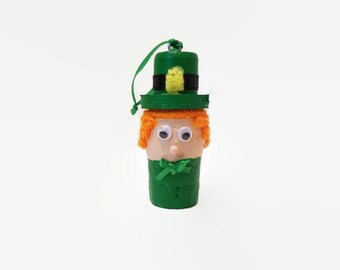 Leprechaun Wine Cork Bottle Charm - St. Patrick's Day - Leprechaun Ornament - Irish Decor - Shamrock - Kiss Me I'm Irish - Luck of the Irish